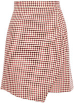 Thumbnail for your product : Paper London Ten Wrap-effect Houndstooth Cotton-jacquard Mini Skirt