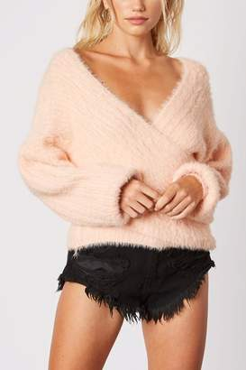 Cotton Candy Plunging-Loose Peach Sweater