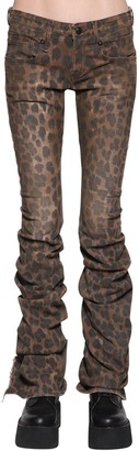 R 13 Leopard Printed Draped Cotton Denim Jean