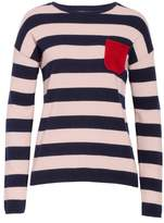 Chinti and Parker CHINTI & PARKER Navy Pop Stripe Cashmere Sweater