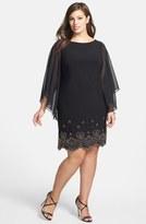 Xscape Evenings Embellished Hem Chiffon Dress (Plus Size)