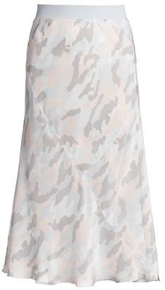 ATM Anthony Thomas Melillo Camouflage Silk Midi Skirt