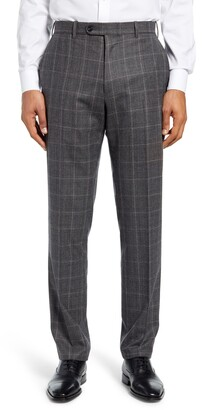 John W. Nordstrom Torino Traditional Fit Flat Front Plaid Wool & Cashmere Trousers