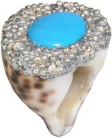 Mesi Jilly Cowrie Shell W Turquoise, Capri Ring