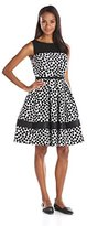 Julian Taylor Women's All Over Print Fit and Flare Dress with Illusion Neckline