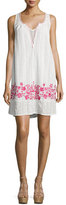 Love Sam Alison Floral-Embroidered Shift Dress, Ivory/Fuchsia