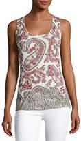 Neiman Marcus Superfine Floral Paisley Silk-Blend Tank