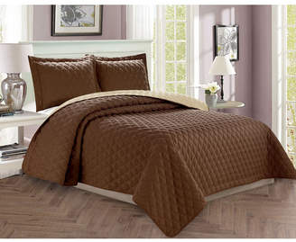 Elegant Comfort Luxury 3-Piece Bedspread Coverlet Diamond Design Quilted Set with Shams - Full/Queen Bedding