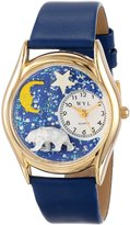 Whimsical Watches Kids' C0150014 Classic Gold Polar Bear Royal Blue Leather And Goldtone Watch