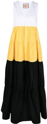 Plan C Colour Block Flared Maxi Dress