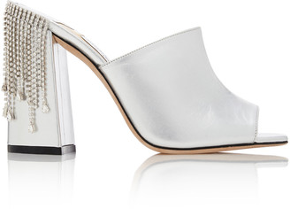 Jimmy Choo Baia Crystal-Embellished Metallic Leather Sandals