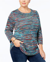 NY Collection Plus Size Marled-Knit Tunic Sweater