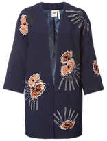 White Stuff Isabella Embroidered Coat, Navy