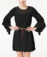 American Rag Lace-Panel Belted Dress, Only at Macy's