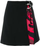 Versace camo print mini wrap skirt