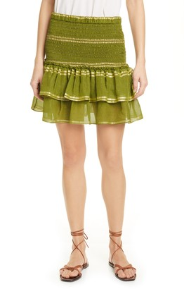 Dolan Eleanor Smocked Metallic Stripe Silk Blend Tiered Miniskirt