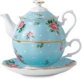 Royal Albert 3-Piece Tea Set for One in Polka Dot Blue