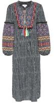 Velvet Ilene embroidered striped cotton and linen kaftan
