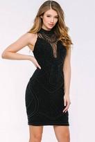 Jovani Pearl-encrusted Illusion High Neck Sheath Dress 41794