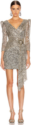 PatBO Metallic Leopard Drape Mini Dress in Gold | FWRD