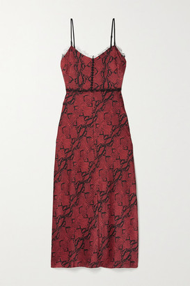 Jason Wu Lace-trimmed Snake-print Silk-crepe Midi Dress - Burgundy