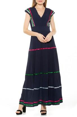 Alexia Admor Summer V-Neck Tiered Maxi Dress