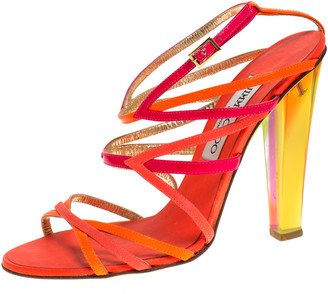 Jimmy Choo Multicolor Leather And Patent Leather Ankle Strap Slingback Sandals Size 37