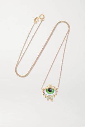 Lito Tu Es Partout 14-karat Gold, Enamel And Diamond Necklace