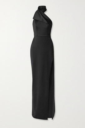 Brandon Maxwell Draped Wool-faille Halterneck Gown - Black