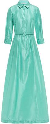 Oscar de la Renta Flared Belted Silk-taffeta Gown