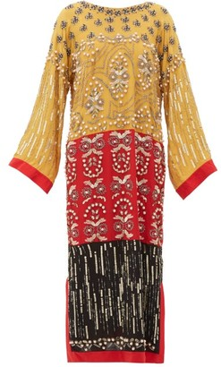 Saloni Maki-b Embellished Silk-georgette Kaftan Dress - Yellow Multi