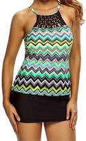 Kalin L Women Zigzag Print Hollow Out Macrame High Neck Padded Swim Top