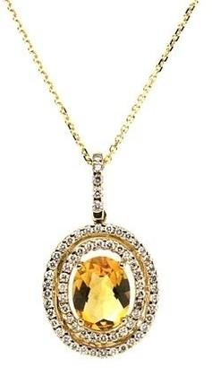 Estie G. 14K White Gold Citrine and Round Cut Diamond