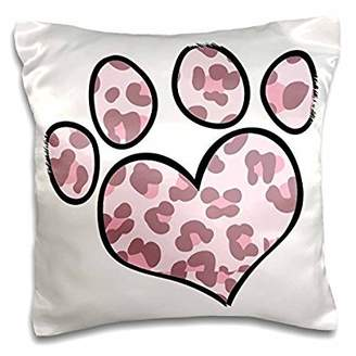 3drose 3dRose Cute Paw Print In Pink Leopard, Pillow Case, 16 by 16-inch