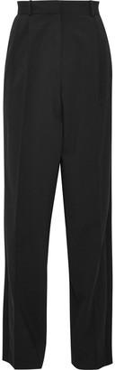 Vanessa Bruno Satin-trimmed Pleated Wool-blend Straight-leg Pants