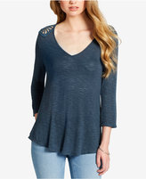 Jessica Simpson Juniors' Lace-Up Crochet-Trim Top