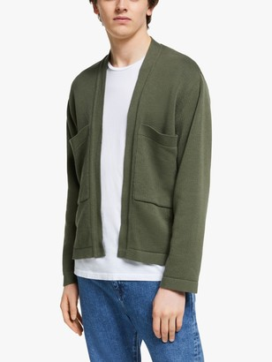 Garbstore The English Difference Cotton Kimono Bomber Cardigan, Camo Green