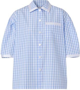 Burberry Puff-Sleeve Gingham Shirt