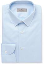 Canali Blue Slim-fit Herringbone Cotton Shirt - Light blue