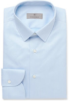 Canali Blue Slim-Fit Herringbone Cotton Shirt