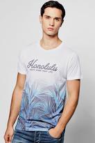 boohoo Honolulu Bay Sublimation T Shirt white