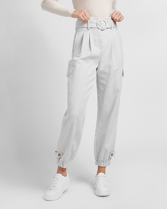 Express High Waisted Belted Utility Ankle Pant