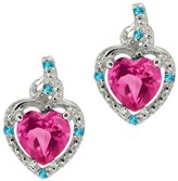 Gem Stone King 1.86 Ct Pink Mystic Topaz and Swiss Blue Simulated Topaz 14K White Gold Earrings