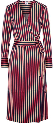 Iris & Ink Anastasia Hammered-satin Midi Wrap Dress
