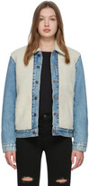 Levi's Levis Off-White and Blue Sherpa Trucker Jacket