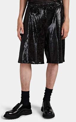 Comme des Garcons Men's Snakeskin-Pattern Drawstring Shorts - Black