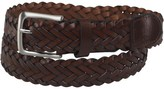 French Connection Mens Plaited Leather Belt With Pop Edge Dark Brown