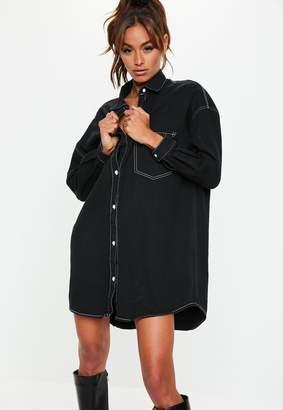 Missguided Black Denim Contrast Stitch Shirt Dress