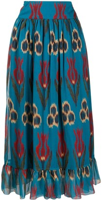 RED Valentino Floral-Print Maxi Skirt