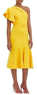Oscar de la Renta Belted One Shoulder Dress